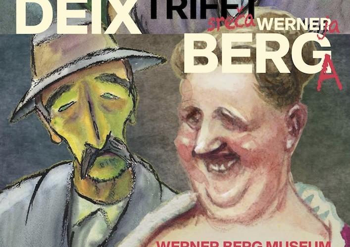 """Plakat der Ausstellung """" Manfred Deix trifft Werner Berg"""", Ausschnitt"""