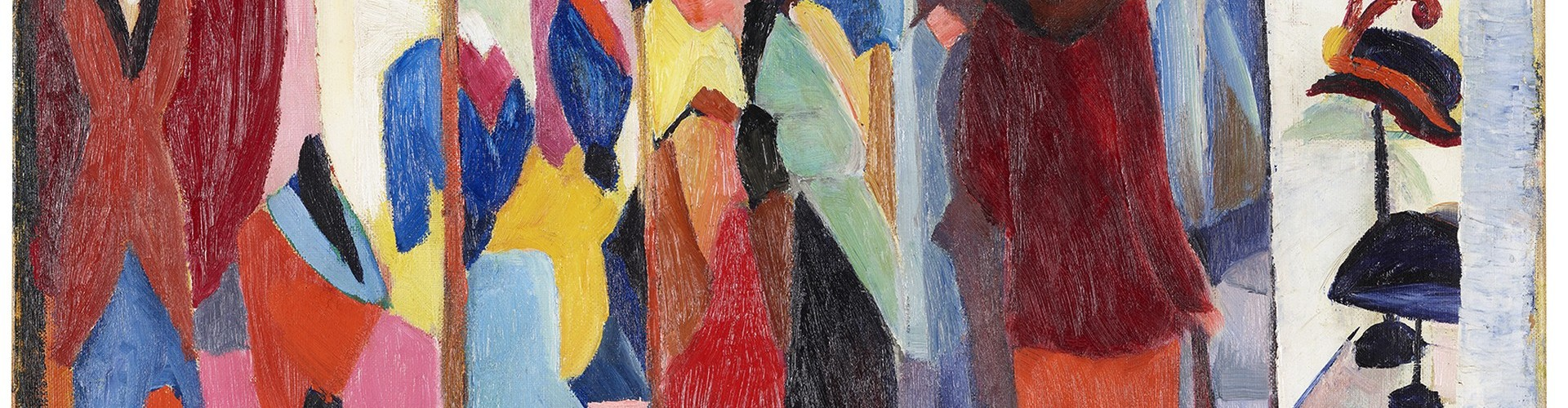 """The exhibition """"August and Elisabeth Macke"""" in the LWL Museum of Art and Culture also includes the painting Fashion Shop from 1913. Photo: LWL/Hanna Neander"""