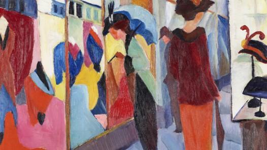 """In der Ausstellung """"August und Elisabeth Macke"""" im LWL- Museum für Kunst und Kultur ist auch das Gemälde Modegeschäft von 1913 zu sehen. Foto: LWL/Hanna Neander"""