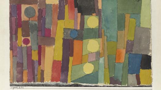 Paul Klee, im Stil von Kairouan, ins gemässigte übertragen, 1914, 211 Aquarell und Bleistift auf Papier auf Karton, 12,3 x 19,5 cm, Zentrum Paul Klee, Bern