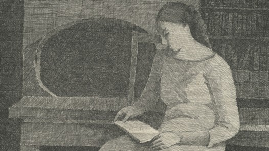 Palézieux 1919-2012: Gérard de Palézieux, La lecture, 1966. Eau-forte, 200 x 250 mm, Cabinet cantonal des estampes, Fondation William Cuendet & Atelier de Saint-Prex, Musèe Jenisch Vevey