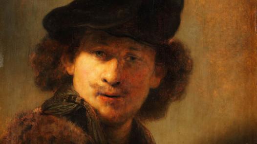 """Ausstellung """"Nennt mich Rembrandt! Durchbruch in Amsterdam"""": Rembrandt Harmensz van Rijn (1606–1669) Selbstbildnis mit Samtbarett und einem Mantel mit Pelzkragen,1634, Eichenholz, 58,4 × 47,7 cm © Staatliche Museen zu Berlin, Gemäldegalerie / Christoph Schmidt"""