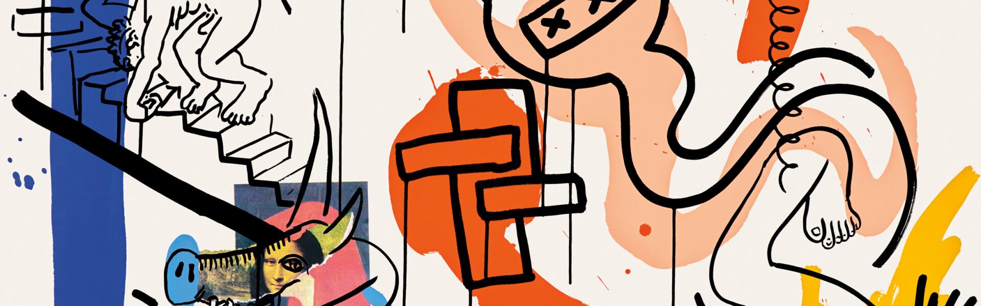 Keith Haring, Apocalypse (Detail), 1988, 10 Siebdrucke zu einem Text von William S. Burroughs, Blatt- und Bildmaß je 96,5 cm x 96,5 cm, Auflage 90, signiert, datiert und nummeriert © Keith Haring Foundation, Foto: Jens Nober, Museum Folkwang