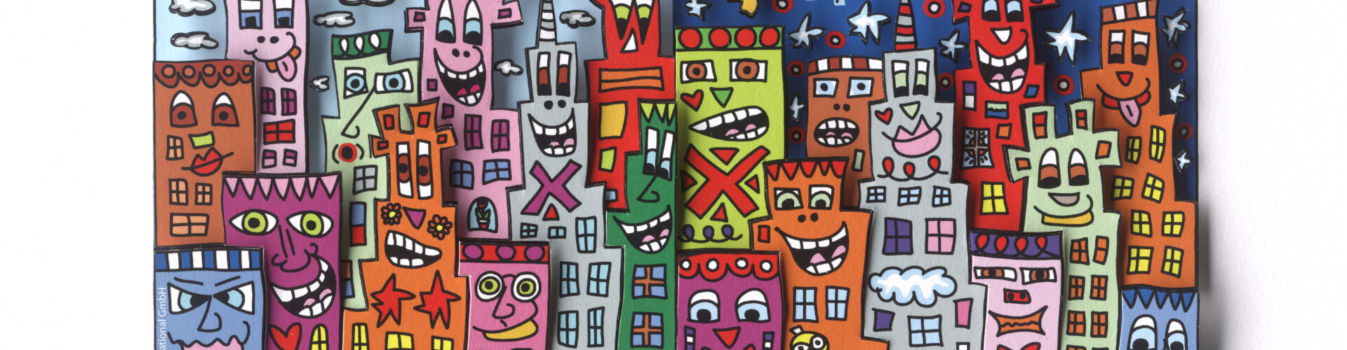 "James Rizzi, 3D paper sculpture, ""DAY OR NIGHT - MY CITY IS BRIGHT"" © Art Licensing Int."