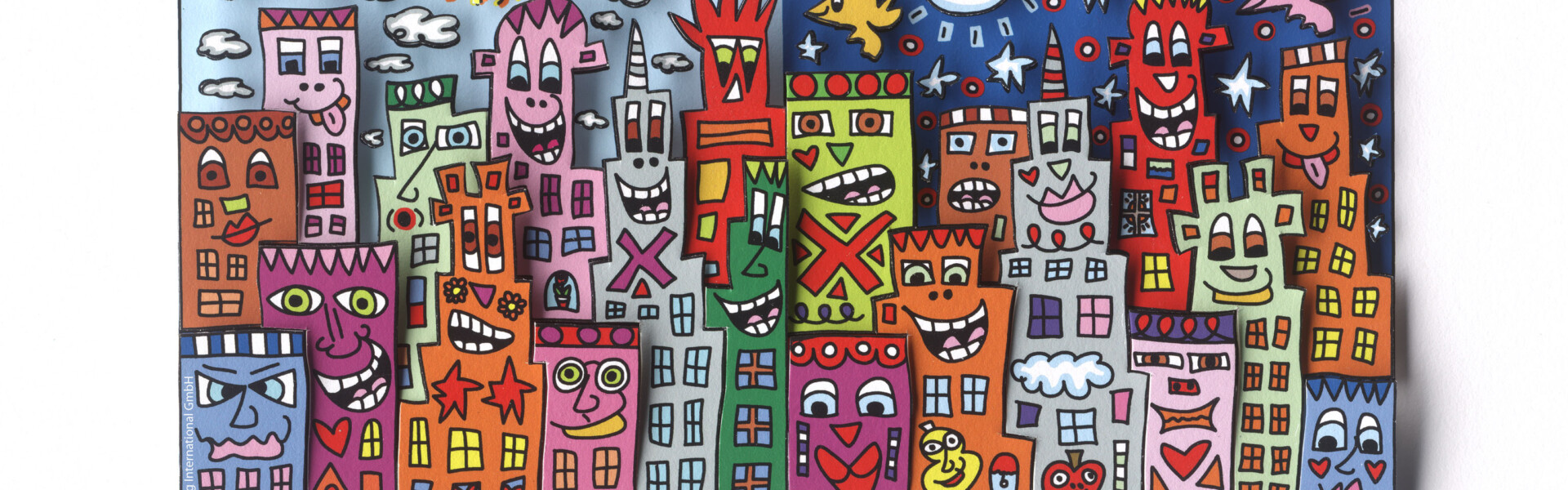"James Rizzi, 3D-Papierskulptur, ""DAY OR NIGHT – MY CITY IS BRIGHT"" © Art Licensing Int. GmbH"