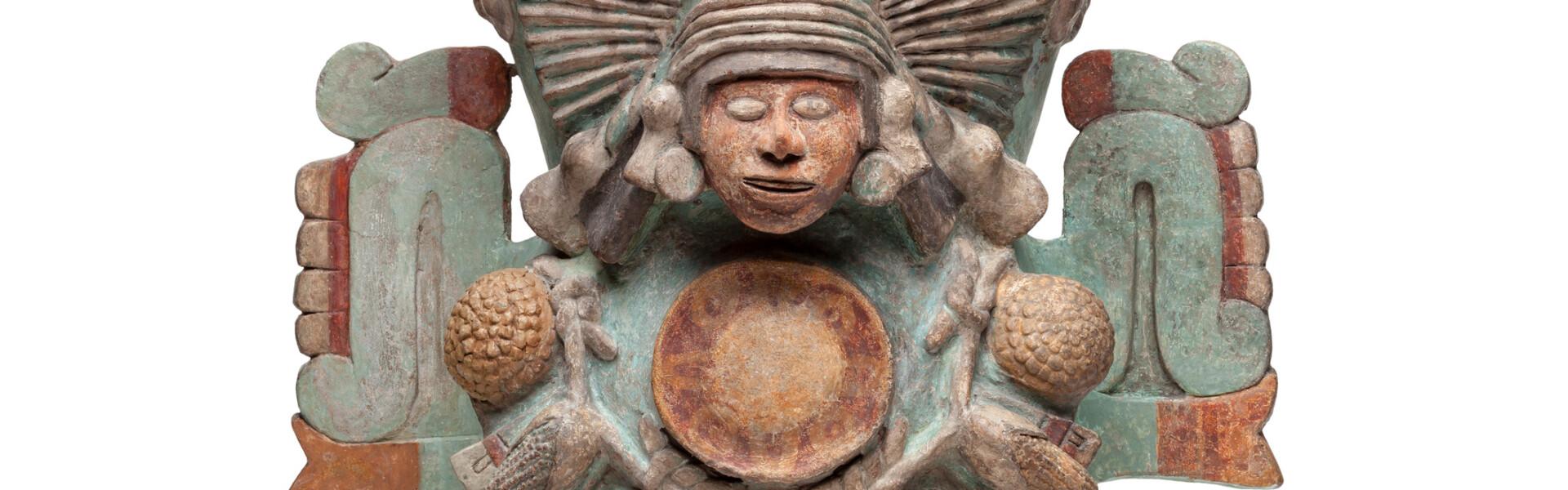Incense burner in the shape of the water and fertility goddess Chalchiuhtlicue © Museo Nacional de Antropología, Mexico City, D.R. Secretaría de Cultura - INAH; Photo: D.R. Archivo Digital de las Colecciones del Museo Nacional de Antropología, Secretaría de Cultura - INAH