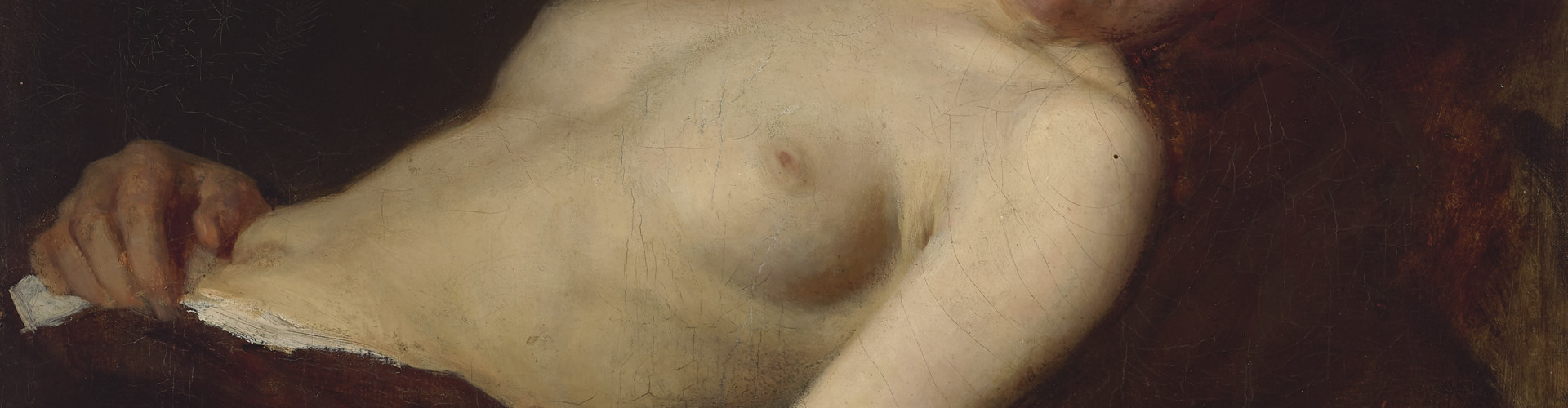 Franz von Defregger, Resting female semi-nude, c. 1890, oil on canvas, 48 x 52.5 cm, private collection © Tiroler Landesmuseen