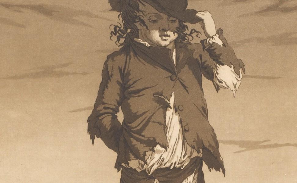 """Blatt aus der Folge """"Betteljugend. Ein Versuch charakteristischer Darstellungen aus dem niedrigen Leben"""", um 1804, Gleimhaus"""