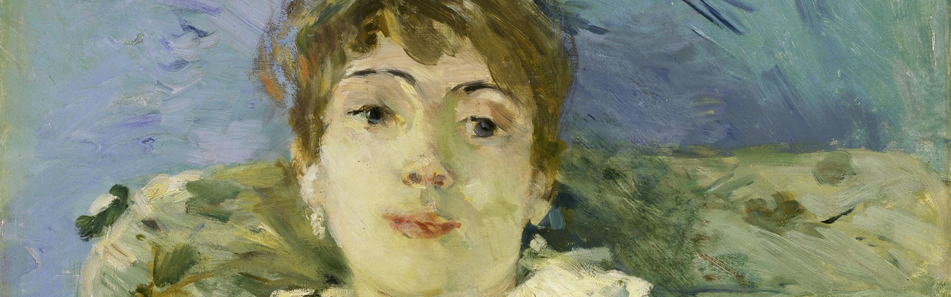 Berthe Morisot, Junge Frau auf dem Sofa (Jeune Femme Au Divan), Detail, 1885 Öl auf Leinwand, 61 x 50.2 cm, Tate, London; Bequeathed by the Hon. Mrs A.E. Pleydell-Bouverie, through the Friends of the Tate Gallery 1968, Photo © Tate