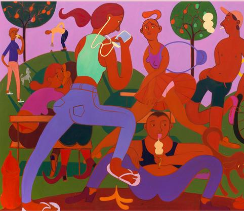 Grace Weaver, lust for lite, 2015 (Ausschnitt), Öl auf Leinwand, 200 x 240 cm, Privatsammlung, © Grace Weaver, Foto: Roman März, Courtesy Soy Capitán, Berlin