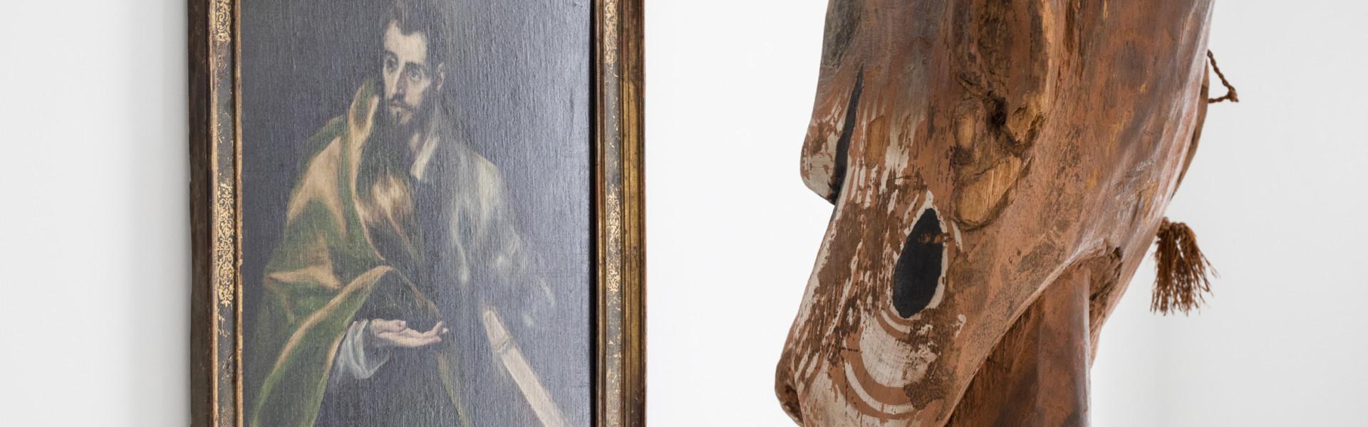 """Apostel knüpft Beziehung zu Urahn aus Papua-neuguinea: El Greco (Schule), """"Der Apostel Jakobus d. Ä.; Toledo, Spanien, um 1600/04,Öl auf Leinwand, Kunstmuseum Basel, Rednerpult teket"""