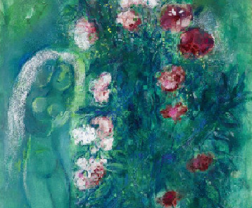 Marc Chagall, Bouquet of carnations with lovers in green, detail, 1950, gouache, oil and brush and ink on paper, private collection © VG Bild-Kunst Bonn, 2021